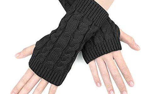 JORYEE Damen Fingerlose Handschuhe-Winter Halb Handschuhe Damen Gestrickte Pulswärmer Strick Kurzer Fingerless Armstulpen Fäustlinge Schwarz