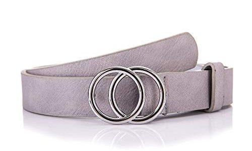 irisaa Schmaler Damen Gürtel mit runder Metallschnalle zwei Ringen, 2,8 cm breit und 0,4 cm stark, Farbe:grau, Länge:100
