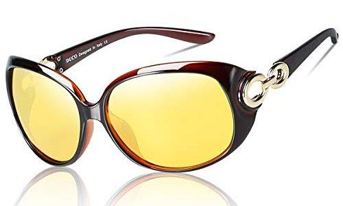 DUCO Damen HD nacht brille für autofahrer frauen Elegante Ovale Nachtfahrbrille 1220 brown