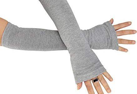 Caripe Kombi fingerlose Armstulpen Damen Beinstulpen Handschuhe Handstulpen Stulpen lang One Size, sol-A hellgrau