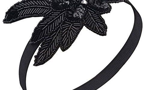 BABEYOND 1920s Stirnband Damen 20er Jahre Stil Haarband Gatsby Kostüm Accessoires Schwarz