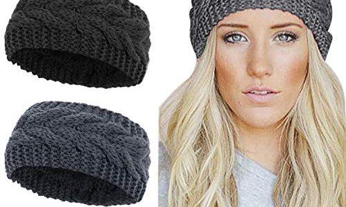 KQueenStar Damen Gestrickt Stirnband -1/2/3/4 Stück Häkelarbeit Headwrap Design Stirnband Winter Kopfband Haarband Headwrap Ohr Wärmer schwarz+dark grau