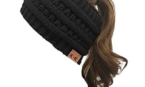 KQueenStar Damen Gestrickt Stirnband -1/2/3/4 Stück Häkelarbeit Headwrap Design Stirnband Winter Kopfband Haarband Headwrap Ohr Wärmer schwarz A