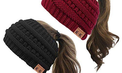 KQueenStar Damen Gestrickt Stirnband -1/2/3/4 Stück Häkelarbeit Headwrap Design Stirnband Winter Kopfband Haarband Headwrap Ohr Wärmer schwarz+rot A