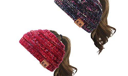 KQueenStar Damen Gestrickt Stirnband -1/2/3/4 Stück Häkelarbeit Headwrap Design Stirnband Winter Kopfband Haarband Headwrap Ohr Wärmer schwarz D