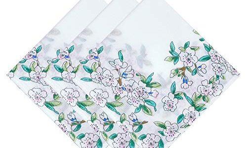 OLESILK Damen Taschentücher Stofftaschentücher mit Pfirschblüte Muster 100% Baumwolle für Alltagsgebrauch, 3 Stücke Geschenk-Set, ca. 43x43cm, Weiß