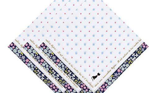 OLESILK Damen Taschentücher Stofftaschentücher mit Katze Blumen und Punkte Muster 100% Baumwolle 3 Stücke Geschenk-Set, ca. 40x40cm, Blau
