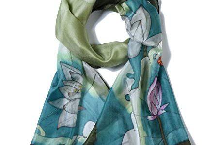 Libellen und Lotusblüten Grau-Grün – langes Halstuch Kopftuch und Haartuch – Damen Seidentuch handbemalt – Invisible World