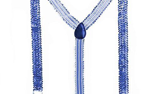Bunte Pailletten Y- Hosenträger 9 Farben Glitzer Bundhalter Blau