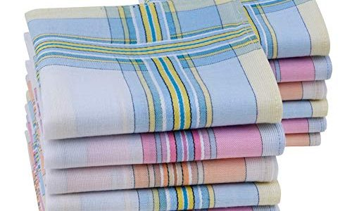 HOULIFE Damen-Taschentücher aus 100% gekämmter Baumwolle 60er Jahre weich gestreift kariert Muster farbig kariert für Hochzeit Party 6/12 Stück 28 x 28 cm Weihnachtsgeschenke Gr. Small, Mixed-12pcs