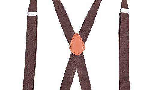 Xiang Ru X-Form 3.5x120cm Mit 4 Haken Hosenträger Längenverstellbar für Damen Herren Kaffeebraun