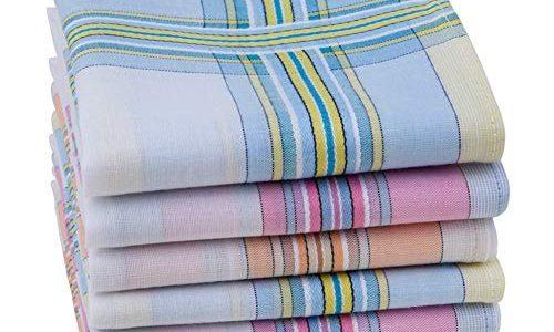 HOULIFE Damen-Taschentücher aus 100% gekämmter Baumwolle 60er Jahre weich gestreift kariert Muster farbig kariert für Hochzeit Party 6/12 Stück 28 x 28 cm Weihnachtsgeschenke Gr. Small, Mixed-6pcs