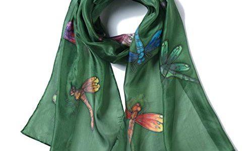 Olivgrün – Invisible World – Damen Seidentuch handbemalt Libellen – langes Halstuch Kopftuch und Haartuch