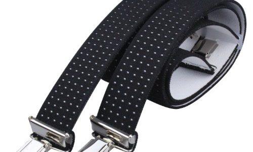 Alex Flittner Designs 4 Clips Hosenträger in schwarz mit weißen Punkten mit starken Clipsen 3,5cm breit für Damen und Herren | Bandlänge 130cm