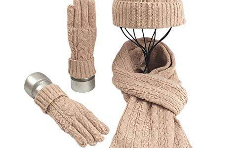 Warmiehomy Mütze, Schal & Handschuh-Sets für Frauen Damen Weiche Warme Gestrickt Langer Schal 3 in 3 Winter Dickes Strickset für Skifahren Draußen Einkaufen Angeln Cmping