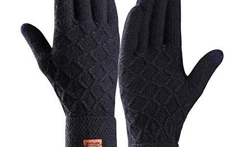 Touchscreen Winterhandschuhe, Winter Strick Handschuhe, Warme Fahrradhandschuhe mit Weichem Futter Elastische Manschette, Warme Sports Handschuhe für Texting, Radfahren, Outdoor Aktivitäten Navy-L