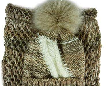 AMALTEA TEA 2 teiliges Damen Winterset Schal Mütze braun beige – ohne Handschuhe 34.54