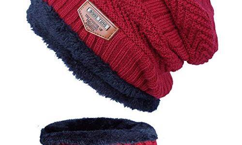ANVEY Unisex Winter Dick Beanie Hut Schal Set Slouchy Warm Schnee Knit Cap Rot