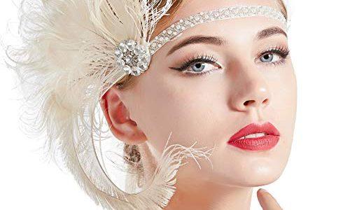 ArtiDeco Damen 1920s Stirnband Pfau Feder 20er Jahre Stil Flapper Haarband Inspiriert von Great Gatsby Damen Kostüm Accessoires Beige