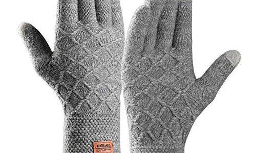 Touchscreen Winterhandschuhe, Winter Strick Handschuhe, Warme Fahrradhandschuhe mit Weichem Futter Elastische Manschette, Warme Sports Handschuhe für Texting, Radfahren, Outdoor Aktivitäten Grey-L