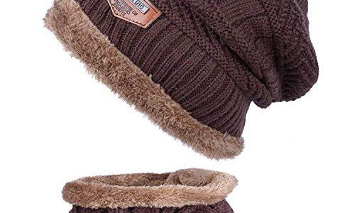 ANVEY Unisex Winter Dick Beanie Hut Schal Set Slouchy Warm Schnee Knit Cap Dunkelbraun