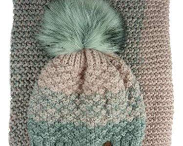 ohne Handschuhe – AMALTEA TEA 2 teiliges Damen Winterset Schal Mütze rosa altrosa grau Veilo 36.64
