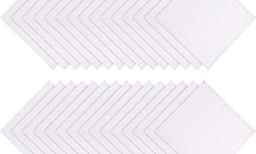 Boao 30 Packung Damen Weich Baumwolle Weißes Taschentuch Damen Taschentücher DIY Hochzeit Taschentücher