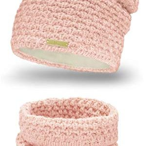 Mikos* Winter Kombi Set aus Winter Schal und passender Strickmütze/Beanie 690 Rosa