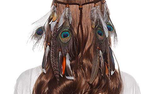 AWAYTR Damen Hippie Boho Indianer Stirnband Feder Stirnbänder für Abendkleider Halloween Karneval Pfauenfedern und Fasanenfedern