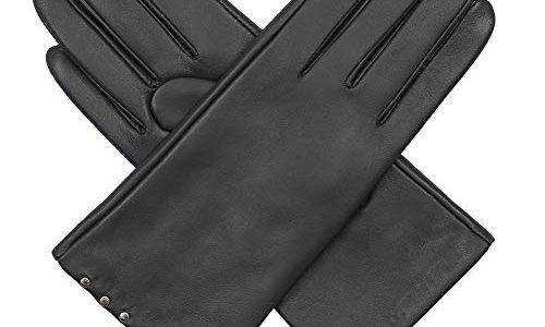 Acdyion Damen Winter Touchscreen Handschuhe Eleganz Echtleder Warm Kaschmirfutter Lederhandschuhe Tägliche Freizeit Outdoor Grau, S
