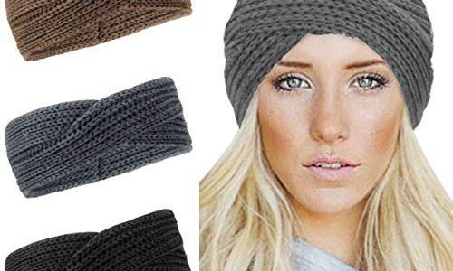 Damen Gestrickt Stirnband -3 Stück Häkelarbeit Schleife Headwrap Design Stirnband Winter Kopfband Haarband Headwrap Ohr Wärmer Twist Knoten style B