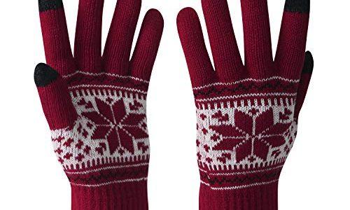 VENI MASEE Winter Touchscreen Handschuhe Schnee Blume Druck halten warm für Frauen und Männer Damen Schneerot