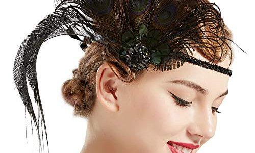 ArtiDeco Damen 1920s Stirnband Pfau Feder 20er Jahre Stil Flapper Haarband Inspiriert von Great Gatsby Damen Kostüm Accessoires Dunkel Pfau