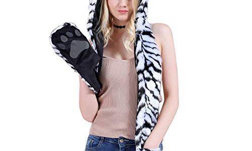 Petalum Damen Winter Warm Mütze Schal Handschuhe Set Kapuzen Handschuhe Warm Kapuzenschal Plüsch Tiere Bär Panda Wolf Paws Ohren Fellmütze