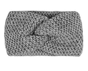 warm weich und luftig für Frühjahr Herbst und Winter – Hochwertiges Strick-Kopfband für Damen Frauen Mädchen – Zwillingsherz Stirnband mit Knoten – Wolle – Haarband – Ohrenschutz – grau