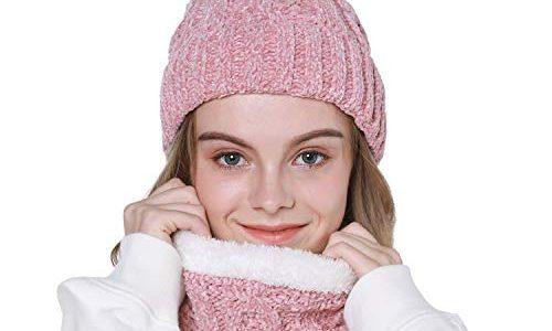 Tacobear Damen Strickmütze Bommelmütze Loop Schal Set Warm Wintermütze Beanie Hüte Winterschal Schlauchschal Strickschal Rundschal für Frauen und Mädchen Rosa