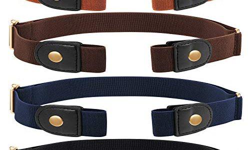 4 Stücke Keine Schnalle Stretch Gürtelschnalle Freier Gürtel Unsichtbarer Elastischer Gürtel Unisex für Jeans Hosen Gold