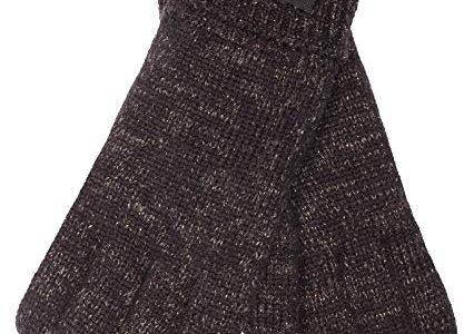 EEM Damen Strick Handschuhe JETTE mit Thinsulate Thermofutter aus Polyester, Strickmaterial aus 100% Wolle; schwarz/gold, S