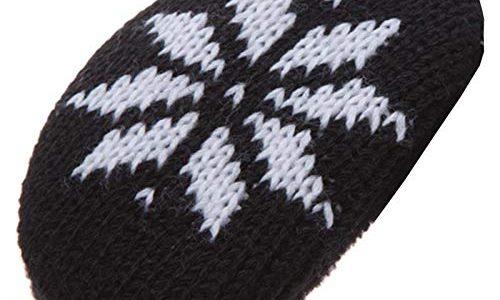 Earbags Fashion Ohrenwärmer Ohrenschützer Mütze Stirnband Warme Ohren Original Strick Fell Leder, Farbe Schneeflocke schwarz, Größe S