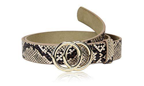 irisaa Schmaler Damen Gürtel mit runder Metallschnalle zwei Ringen, 2,8 cm breit und 0,4 cm stark, Länge:80, Farbe:Sandsnake mit goldring