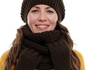Hilltop Winterset 3-Teilig bestehend aus Loop-Schal, Strickmütze und Handschuhen, Damenschal als Winter-Schal, Strickschal mit passender Damen Mütze Dark Brown
