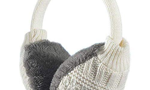 Warme, Weich, Faltbare & Einstellbar Ohrwärmer Ohrenschützer Stricken, Weiß – Ohrenwärmer Winter Ohrenschützer für Damen & Herren