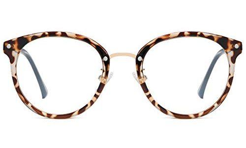 SOJOS Round Brille mit Blaulichtfilter ohne Sehstärke Anti-Blaulicht Gläser Brille SJ9001 Ashley mit Leopardenmuster Rahmen/Anti-Blaulicht-Linse