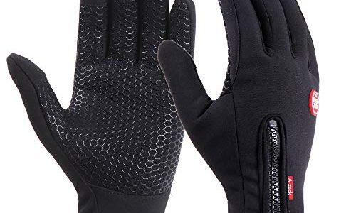 Brudergo wasserdichter Touchscreen Handschuhe Winter Fahrradhandschuhe Laufhandschuhe Sporthandschuh mit Touchscreen Funktion Schwarz, MPalm Breite Ca. 8,5cm