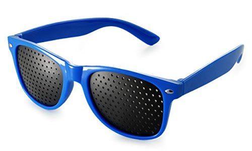 Raster-Brille/Loch-Brille für Augen-Training und Entspannung, Gitter-Brille mit faltbaren Bügeln, Form B, Farbe: blau
