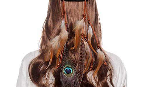 AWAYTR Damen Hippie Boho Indianer Stirnband Feder Stirnbänder für Abendkleider Halloween Karneval Braune Federn + Pfauenfedern