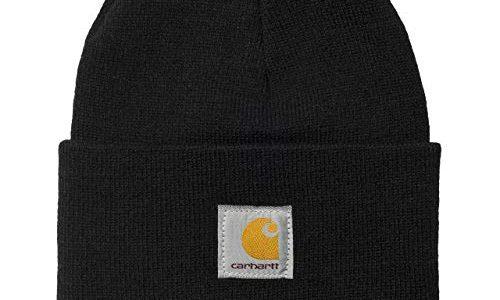 Carhartt WIP Acrylic Watch Hat Unisex Winter Mütze mit 7kmh Aufkleber Schwarz 3544