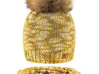 MFAZ Morefaz Ltd Set Mütze & Schal Damen Winter Beanie Strickmütze Alpaka Wolle Wurm Fleece Bommel Pom Pom Honey Set Mütze & Schal