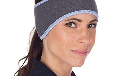 grau/blau – TrailHeads Pferdeschwanz-Stirnband für Damen | Ohrenwärmer aus Vlies | Stirnband für Winterläufe