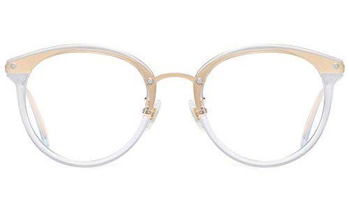SOJOS Round Brille mit Blaulichtfilter ohne Sehstärke Anti-Blaulicht Gläser Brille SJ9001 Ashley mit Transparenter Rahmen/Anti-Blau-Lichtlinse